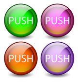 Glossy buttons Push — Stock Vector