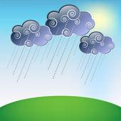 Cloud and rain — Stock Vector