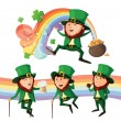 Set of cute leprechauns. Isolated on white background. - Stock Vector