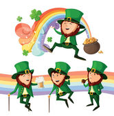 Set of cute leprechauns. Isolated on white background. — Stock Vector