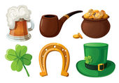 Set of St. Patrick's Day icons. Isolated on white background. — Stock Vector