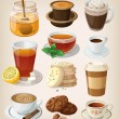 Set of delicious hot drinks and supplies - Stock Vector