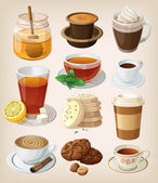 Conjunto de deliciosas bebidas calientes y suministros — Vector de stock