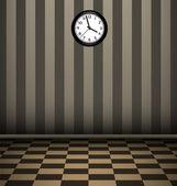 Black clock in vintage room — Stock Photo