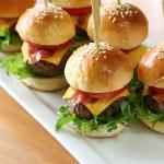 Mini hamburgers, mini burgers — Stock Photo