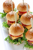 Mini hamburgers, mini burgers — Stock Photo