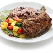 Jerk chicken plate — Stock Photo