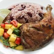 Stock Photo: Jerk chicken plate