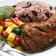 Jerk chicken plate — Stock Photo