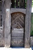 Decorated wood gate — Stock Photo