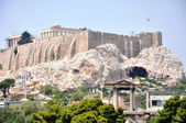 Met het oog op de atheense akropolis - athens, griekenland — Stockfoto