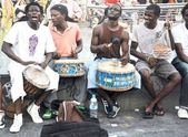 African band singing on the street — Stock Photo