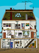Old House Cross Section — Stock Vector