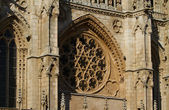 Gothic Rosette of Principal Facade of Burgos Cathedral. Spain — Stock Photo
