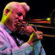 Trombonist from Pink Martini band performs live on the stage - Stock Photo