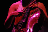 Cello player performs live on the stage — Stock Photo