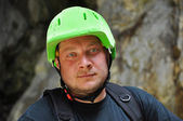 Climber portrait with helmet — Stock Photo
