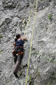 Female rock climber — Stock Photo