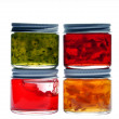 Four jam jar isolated on white background — Foto Stock