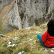 Beautiful limestone gorge and a woman admiring it — Stock Photo