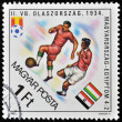 Soccer players on a hungarian stamp - Stock Photo