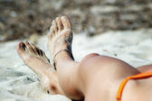 Sexy feet with anklet — Foto de Stock