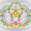Wreaths from abstract flowers on floral background — Stock Vector