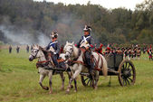 Soldiers of Napoleonic wars riding horses — Stock Photo