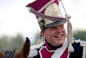 A soldiers of Napoleonic wars smiling. Borodino. — Stock Photo