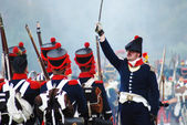 Commander and soldiers of Napoleonic wars — Stock Photo