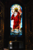 Saint Isaac's Cathedral in St Petersburg, Russia. Stained-glass window — Stock Photo