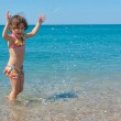 Family summer beach vacation with kid — Stock Photo
