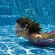 Happy smiling underwater child in swimming pool — Stock Photo #10765708