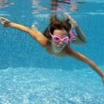 Happy smiling underwater child in swimming pool — Stock Photo #10765742