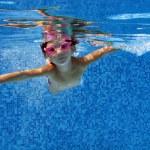 Happy underwater child in swimming pool — Stock Photo #10765786