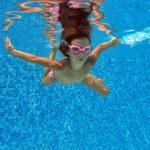 Happy smiling underwater child in swimming pool — Stock Photo #10765845