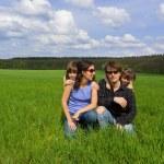 Happy family outdoors having fun — Stock Photo #10835602