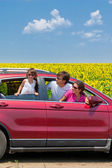Family summer vacation, travel by car, vertical image — Stock Photo