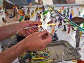 Glass blower artist at work — Stock Photo