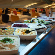 Wide selection of fresh salads at a buffet bar — Stock Photo