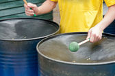 Caribbean style metal steel drums — Stock Photo
