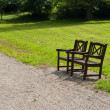 Stock Photo: Beautiful garden park wooden chairs seating corner