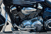 Motorcycle bike chrome engine and exhaust — Stock Photo