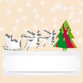 Cartão de natal com rena e árvore — Vetorial Stock
