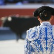 Bullfighter facing the bull — Stock Photo #11445142
