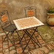 Elegant garden furniture on tuscan terrace, Italy, Europe — Stock Photo