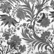 Floral black and white damask background — Stock Photo