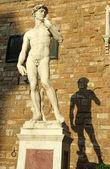 Michelangelo's David sculpture in sunset light. — Stock Photo