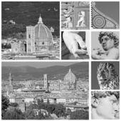 Collage med florentinska turistiska attraktioner — Stockfoto