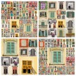 Abstract wall with many windows images — Stock Photo